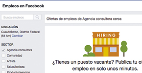 Apartado donde puedes buscar empleo en FB